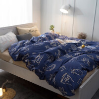 纯棉四件套简约全棉公主风床上用品1.5m1.8m床单被套双人卡通套件 00345 度假