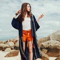 雪纺衫女夏季薄开衫外套民族风大码宽松中长款度假海边沙滩防晒衣 深藏蓝 如图色 均码
