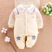 新生婴儿儿衣服秋冬0-3个月纯棉加厚宝宝连体衣保暖棉衣初生冬装