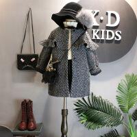 韩版冬装新品女童装洋气甜美木耳滚边单排扣毛呢大衣外套B6-S32