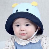 宝宝帽子秋冬婴儿渔夫帽婴儿可爱河马盆帽小朋友遮阳帽8205 蓝色