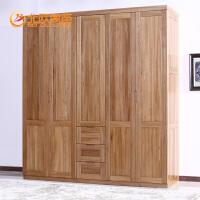 北欧篱笆定制实木衣柜纯榆木整体五门衣柜大衣柜衣橱简约实木家具