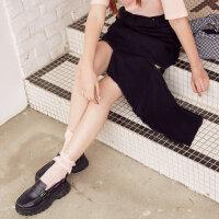 【全场2件2.5折,到手价:36.3】美特斯邦威牛仔短裙女潮流半身裙不对称韩版夏新款商场同款