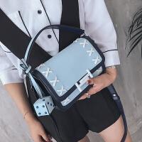 明星同款小方包2017新款夏季包包时尚女包撞色编织单肩斜挎包