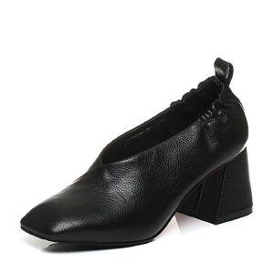 Belle/百丽2017秋时尚小V口牛皮复古方头方跟奶奶鞋72002CM7