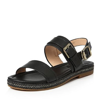 Tata/他她夏专柜同款牛皮饰扣休闲方跟女皮凉鞋T2017BL7