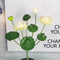 仿真荷花荷叶睡莲花供佛仿真花塑料花假荷花客厅落地花艺装饰荷花 白色 (小9头荷花)