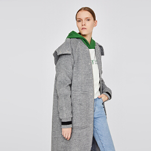 初语棒球领毛呢外套女2018冬装新款连帽绵羊毛宽松中长款呢子大衣