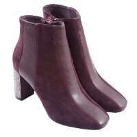 2018秋冬季新款欧美加绒高跟马丁靴粗跟时尚侧拉链方头绒面短靴女靴真皮