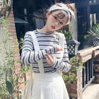 甜美拼色条纹圆领波边长袖打底衫女韩版学院风修身显瘦T恤上衣潮