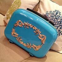 蓝色拉杆箱子母行李箱女旅行箱2024英寸托运箱登机箱子万向轮金色雕花密码箱