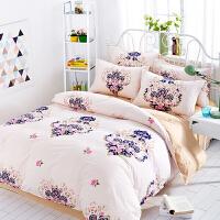 纯棉四件套 婚庆斜纹床品被套床单家纺单双人4套件 床上用品 乳白色 玫瑰情缘