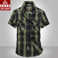 AFS JEEP短袖衬衫男夏季男士吉普大码宽松休闲衬衣军装潮662