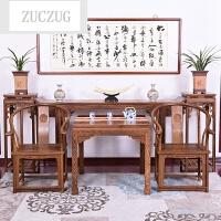 ZUCZUG红色木家具 鸡翅木中堂佛台实木仿古客厅家具供桌八仙桌组合