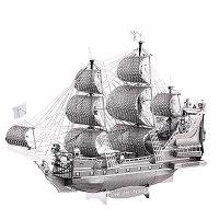 3D立体模型金属拼图 DIY手工拼插拼装玩具 创意摆件礼品 安妮女王号银色(拼酷) 银