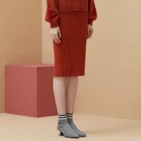 【全场2件2.5折,到手价:42.3】美特斯邦威半身裙女冬装新款纯色气质开叉针织裙子chic包臀裙