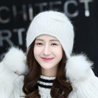 新年优惠【NEW】韩版新款兔毛帽子女冬天毛线帽纯色护耳帽冬季双层保暖针织帽潮 均码