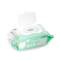 韩国K-MOM 九无宝宝湿纸巾柔花款儿童湿巾婴儿专用湿巾100抽带盖