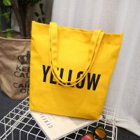 简约字母小清新帆布袋女包文艺环保购物袋单肩学生帆布包书包 黄色(宽36*高35*厚8)