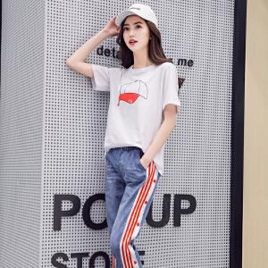 圆领短袖T恤衫棉2018春夏新款韩版修身字母打底衫