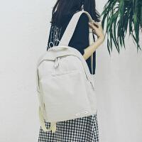 书包女学生韩版纯色双肩包简约百搭韩国潮校园森系旅游背包旅行包