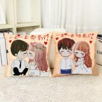 【优选】印花十字绣抱枕客厅沙发新款卡通情侣一对简单绣卧室汽车枕头套件