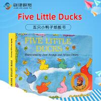 Five Little Ducks 五只小鸭子纸板书 英文原版绘本儿童英语启蒙 拉斐唱读系列fivelittle du