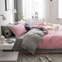 磨毛纯棉四件套加厚全棉床上用品冬季单双人简约纯色床单被套1.8m