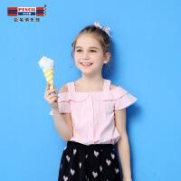 【3件2折价:25.8】铅笔俱乐部童装2019夏季女童衬衫儿童上衣中大童荷叶袖衬衫儿童T