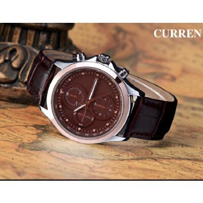 CURREN 卡瑞恩8138 男士大表盘防水石英手表 流行皮带手表