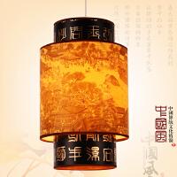 中式灯笼吊灯 仿古羊皮小吊灯餐厅吧台火锅店实木古典中国风灯具