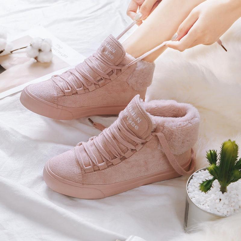 粉色板鞋女加厚学生冬季加绒鞋高帮帆布鞋大童初中生保暖棉鞋