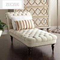 ZUCZUG欧式古典贵妃椅美式棉麻布艺拉扣贵妃榻法式客厅卧室懒人沙发躺椅 图片米色