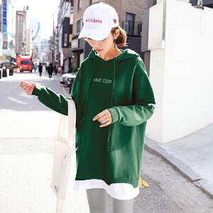 【1件3折:22.8元】韩都衣舍2019春装新款版女装气质拼接假两件长袖连衣裙OR7038�S