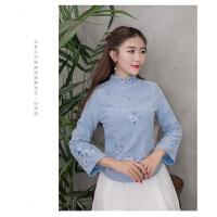 中国风复古2018春装丝绒短款气质修身少女改良旗袍上衣长袖唐装女