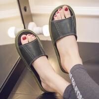 居家夏季防滑羊皮拖鞋室内家居木地板凉拖鞋男女家用夏天拖鞋 墨绿 色