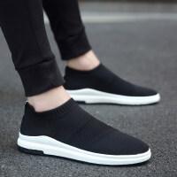 2018秋季韩版潮流男鞋子休闲袜子男士帆布板鞋一脚蹬懒人潮鞋透气