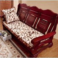 新款秋冬中式毛绒红实木沙发坐垫长椅垫单人三人组合套件可拆洗