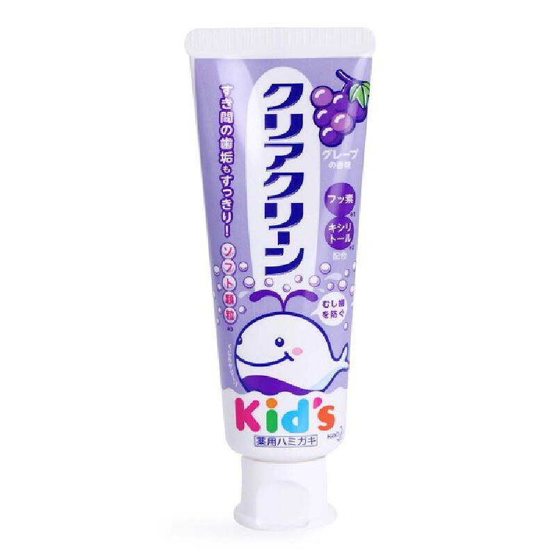 日本花王儿童牙膏低氟防蛀可食可吞咽2-3-6-12岁换牙期进口水果味