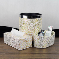 欧式创意雕纹皮革纸巾盒桌面遥控器收纳盒垃圾桶家居三件套 白底金花
