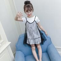 女童夏装新款时尚中大童连衣裙韩版女孩网纱裙子两件套潮