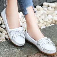 白色哑光小皮鞋女平底透气舒适百搭耐磨休闲豆豆单鞋气质简约软底hgl 白色 豆豆鞋