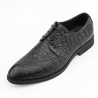 男士鳄鱼纹男鞋尖头商务正装皮鞋内增高6cm婚鞋英伦发型师真皮鞋 黑色 正常版