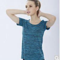 夏季速干T恤薄运动短袖女段染炫色宽松跑步服瑜伽健身衣透气吸汗