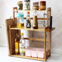 厨房用品调味盒调料瓶整理架收纳架 楠竹厨房置物架调味架子 三层调味架 带刀架砧板架 +2个S挂钩