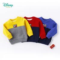 迪士尼Disney童装 男童毛衣秋冬新品罗纹肩开扣套头上衣宝宝休闲撞色加绒针织衫183S1042