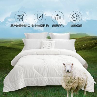水星家纺 珍鬟澳洲羊毛抗菌冬被升级版 加厚羊毛被子保暖被芯
