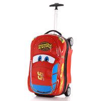 麦昆卡通儿童旅行箱男孩18寸玩具拉杆箱汽车皮箱可坐骑宝宝行李箱 红色 18寸拉杆箱