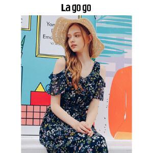 【清仓3折价167.7】Lagogo/拉谷谷2019年夏季新款时尚V领气质女印花连衣裙HALL304M36