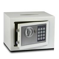 迷你小型小店密码收银投币式保险箱保险柜钱箱保管箱存钱罐储蓄罐 17E 投币 白色